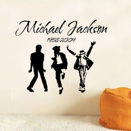Wholesale Wall Murals For Cheap - New Michael Jackson Wall Decal Stickers PVC Popular Characters Wall Murals for Living Room Bedroom Wholesale and Cheap