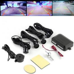 Wholesale Park Sensors - DC12V LED BIBIBI Car Parking Sensor 4 Sensors Monitor Auto Reverse Backup Radar Detector System Kit Sound Alert Alarm Indicator Probe
