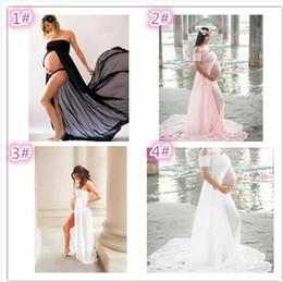 Wholesale Casual Pregnancy Dresses - 6pcs 4 design Pregnant Women Dresses Chiffon Off Shoulders Maternity Strapless Photography Dresses Pregnancy Photo Shoot Split Longuet M106