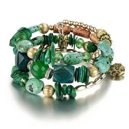 Wholesale Bangle Bracelet Jewelry Resin - Woman Boho Multilayer Beads Bracelets for Women Vintage Resin Stone Bracelets & Bangles Pulseras Ethnic Jewelry Bijouterie
