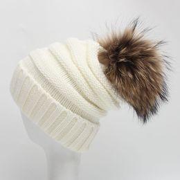 Wholesale Big Baby Hat - Teenager Autumn Winter Raccoon Knit Fur Hat Big Girls Boys Fur pompoms Ball Baby Beanies Cap 2016 Junior Crochet Knitted Christmas Hats