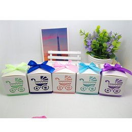 Wholesale Stroller Baby Favors - Laser Cut Hollow Square Stroller Baby Shower Favors Boxes Gifts Candy Boxes Favor Holders With Ribbon Wedding Party Favor Supplies Decor