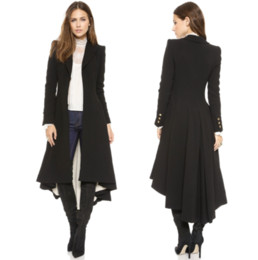 Wholesale Long Skirt Coats - Simple Metal Lapel Suit Cufflinks Fold After Wool Coat Tails