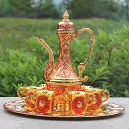 "Wholesale Red Wine Tea - 12"" plate gold & red color metal wine set tea set fashion zinc alloy decorative wine set"