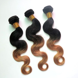 Wholesale Two Toned Color Weave - Virgin Peruvian Hair Bundles Ombre Human Hair Wefts Weaves Two Tone Body Wave Brazilian Indian Malaysian Mongolian Remy Hair Extensions
