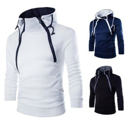 Wholesale Double Collar Hoodie Men - Double Incline Zipper Hoodie Men Hooded 2018 Drawstring Design Long Sleeve Contrast Color Lining Fleece Slim Fit Man Casual Hoodie Free Ship
