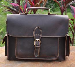 Wholesale Handbag Crocodile Skin - Wholesale- NEWEEKEND 2058 Genuine Leather Top Skin Crazy Horse Multi-Pocket 13 Inch Handbag Briefcase Shoulder Crossbody Laptop Bag for Man