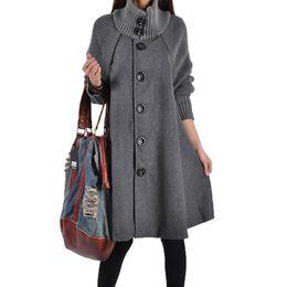 Wholesale woolen ladies jackets - Wool Blends Hot Sale New Brand Winter Wool Coat Women 2016 Lady Woolen Jacket Turtleneck Long Overcoat Manteau Femme Coat