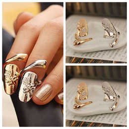 Wholesale Dragonfly Nail Designs - New Exquisite Cute Retro Queen Dragonfly Design Rhinestone Plum Snake Gold Silver Ring Finger Nail Rings D841E