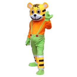 Wholesale Tiger Mascots Costumes - Hot Adult Size ferocious Animal tiger Cartoon Mascot Costume Party Fancy Dress Free Shipping Big High Quality Furry Polar