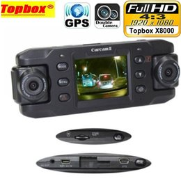 Wholesale Twins Cam - car dvr Dual Lens Car Camera Two Lens Vehicle DVR Dash Cam Loop Recorder GPS Tracker Tracking G-sensor CA365 X8000 Twins Cam Black Box