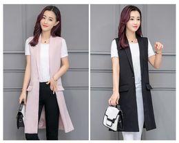 Wholesale Mandarin Collar Waistcoat - Women white black long vest coat Europen style waistcoat sleeveless jacket back split outwear casual top Roupa Female
