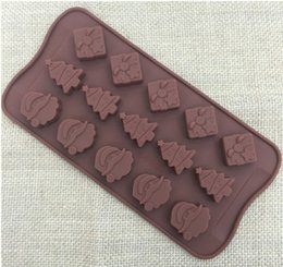 Wholesale Santa Claus Molds - new Silicone Christmas Decoration Santa Claus tree design Chocolate Molds Candy Ice Mould Cake Moulds Bakeware
