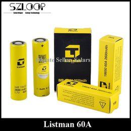 Sigelei batterien online-Authentische Listman 60A Lithiumbatterie 3.7v 2600mAh Flat Top Li-on 18650 Batterie Batterie mit höchster Entladung für E-Zigaretten Sigelei 213