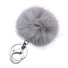 Retal мягкий реальный мех кролика мяч металлические брелки мяч Pom Poms плюшевые брелок автомобиль сумка кулон брелки от Поставщики настоящий меховой плюш