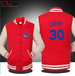 Wholesale Free Standing Letters - FREE SHIPPING WHOLESALE BASKETBALL GOLDEN STATE CURRY WARRIOR SPRING FALL WINTER Jacket lover`s Sweatshirt baseball uniform for MAN 5 COLORS