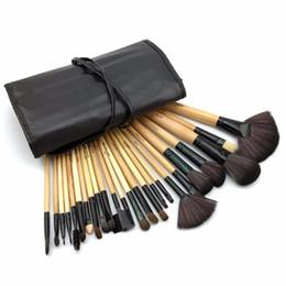 Wholesale free shipping make up cases - Hot !! Professional 24 Pcs Makeup Brushes Set Tools Make Up Toiletry Kit Wool Brand Make Up Brush Set Case Free Shipping