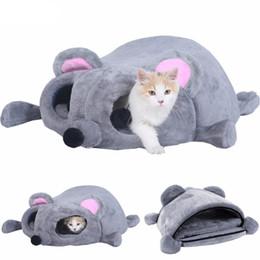 Topi grigi online-Pet Dog Cat Bed Grigio a forma di nido Cuscino nido morbido Sacco a pelo Gattino Cosy Cave Snuggle Sack Kitty Tunnel Cuddle Pouch