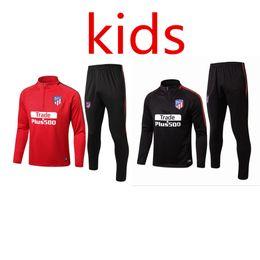 Wholesale Waterproof Sweaters - Atletico Madrid Koke Griezmann kids Kit 17-18 Boy soccer Jersey chandal football tracksuit Child jacket training suit pants sweater