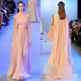 Wholesale Shawl Chiffon Laces - Elie Saab Dresses 2017 Red Carpet Dresses with Shawl Ruffled Chiffon Vintage Long Evening Gowns Formal Dresses