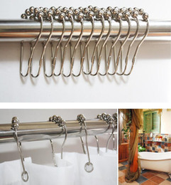 Wholesale Stainless Steel Shower Rollers - Polished Satin Nickel 5 Roller ball Shower Curtain Hooks 100% Stainless Steel Polished Chrome Free Shipping 100pcs