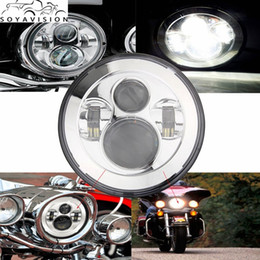 "Wholesale Tri Glides - Chrome 7 Inch Motorcycle Headlight Headlamp 7"" LED Headlight Motorcycle H4 Low High Beam DRL For Harley Tri Glide Ultra Classic"