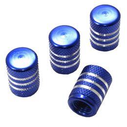 Wholesale Chrome Tire Valve Stem Caps - 4 Pcs car truck bike Blue Aluminum tire valve stem caps with chrome stripes F00209 CADR