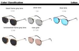 Wholesale Clip Sunglasses Mirror - Men Punk Style Retro Round Clip On Sunglasses Double Alloy Frame Removable Lens Sunglasses Lady Dazzling Color Mirror Sunglasses