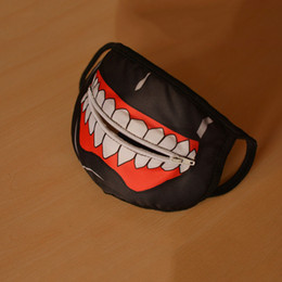 Wholesale Ear Loops - Wholesale-Hot Sale Tokyo Ghoul Mouth Mask Cotton White Teeth Style with Zipper Eat Mask Black Dust Ear Loop Face Mask Anime Theme Costume