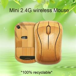 receptor de escritorio Rebajas Venta al por mayor Bambú 2.4G Ratón inalámbrico Ratón de madera de madera Ratones inalámbricos hechos a mano naturales con receptor USB para computadoras portátiles / computadora de escritorio