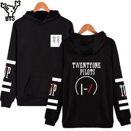 Wholesale Mens Black Hoodie Wholesale - Wholesale- BTS Twenty One Pilots Long Sleeve Mens Hoodies And Sweatshirts Hip Hop Black Cotton Rock Fashion Sweatshirt Men Hooded