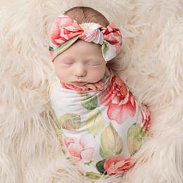 Wholesale Wholesale Newborn Vintage Headbands - 2018 Cute Newborn Baby Vintage Floral Bow Knot Headband+ Swaddle Blanket Burp Wrapped Photograph Props