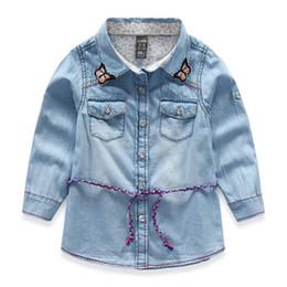 Wholesale Turtleneck Long Sleeve Shirt Girl - Hot Lovely Kids Girls The cowboy Braces skirt stripe Long sleeve butterflies embroidered collar lace T shirt