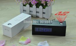 Wholesale Laser Projector Clocks - Laser LED Projection Alarm Clock Display Time Date Temperature Projector Digital Desk Calendar With FM Radio Function