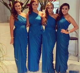 2019 billige blaue braut magd kleider 2019 elegante blaue brautjungfer kleid eine schulter geraffte chiffon günstige lange formale brautmädchen kleid frauen hochzeitsgast kleid günstig billige blaue braut magd kleider