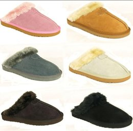 Wholesale Women Cow Slippers - fast shipping new Factory Outlet Australia Classic Women Men Cow Leather Snow Adult Slippers size US5-13 Free shipping 1 pair