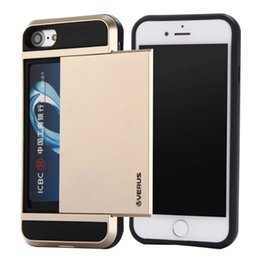 Wholesale Apple Storage - For Samsung Galaxy S6 S7 Edge With Slide Storage Card Slot Holder Case for iphone 5 6 6S 7 Plus Hard Armor Cover Hybrid Shockproof Phone Bag