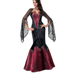 Wholesale Womens Devil Halloween Costumes - 2016 New Adult Womens Sexy Red Black Halloween Party Vampire Costumes Outfit Fancy Devil Cosplay Dresses