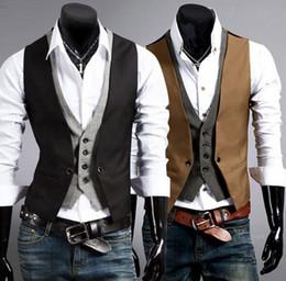 Wholesale Stylish Groom Vests - 2018 Slim Businessman Vests Stylish Wedding Groom Waistcoat V-neck Black Brown Best Man Groomsmen Business Man Vests Outerwear Coats Suits