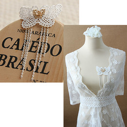 Wholesale Girls Lace Dress Brooch - Lace Tassel Butterfly Brooch Pin Lolita Prom Party Breastpin Clip Girls Beach Holiday Cardigan Dress Decor