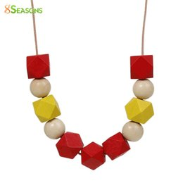 Wholesale Spray Painted Beads - Wholesale- 8SEASONS Handmade Polygon Red Yellow Spray Paint Wood Beads Natural Round Adjustable Necklace Summer Jewelry About 72cm 1 Piece