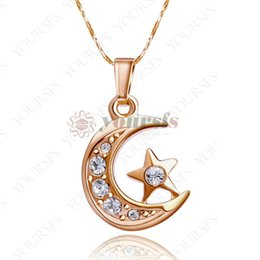 Wholesale Moon Star Pendant Necklace - Yoursfs Elegant Christmas Gift 18 k Gold Plated Necklace 18 K White Gold Plated Use Crystal Moon Star Pendant Necklace For Women Jewelry