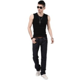 Wholesale Tight Tank Top Undershirt - Mens Fashion Tank tops Tights Clothing For Men Casual Sleeveless Men Undershirts Cotton Bodybuilding Stringer Summer Shirts Vest