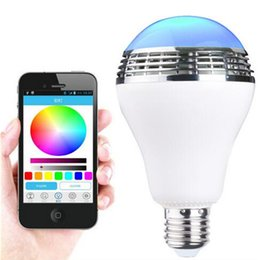 Wholesale smart rgb led - E27 Smart Bulb Wireless Bluetooth Audio Speakers with LED RGB Light Music Bulb Lamp speakers Color Changing via WiFi App Control