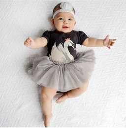 Wholesale Tulle Jumpsuits Girls - Baby Girls Romper Dress Kids Girl Cartoon Swan Tulle Jumpsuit Newborn One-piece Infant Birthday Gift Outfits 2018 Summer Children Clothing