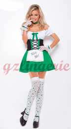 Wholesale Sexy Sporty Girls - Sexy Green Kiss Me Beer Girl Costume Oktoberfest Maid Waitress Fancy Dress