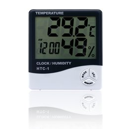 Wholesale Temperature Station Indoor - Fashion Indoor Room LCD Electronic Temperature Humidity Meter Digital Thermometer Hygrometer Weather Station Alarm Clock