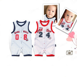 Wholesale Jumpsuits Two Colors - Newborn Fashion Stripe Rompers Pure Cotton two colors Jumpsuits Summer Sleeveless Todder for Baby boy & girl