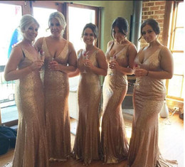 Wholesale Cheap Formal Dresses For Juniors - Cheap Gold Sparkling Bridesmaid Dresses Honor Of Maid Formal Gown For Wedding Party Guest With Mermaid V Neck Backless Sequins
