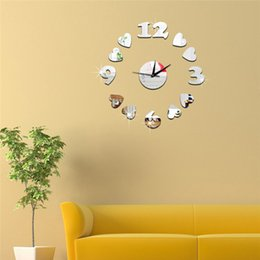 Wholesale 3d Number Design - 3D mirror wall stickers Coffee cups number wall clock Creative Home Decor DIY Removable Decoration Stickers 2017 wholesale Free delivery